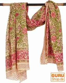 Leichter Pareo, Sarong, handbedrucktes Baumwolltuch - Farb Kombination 25