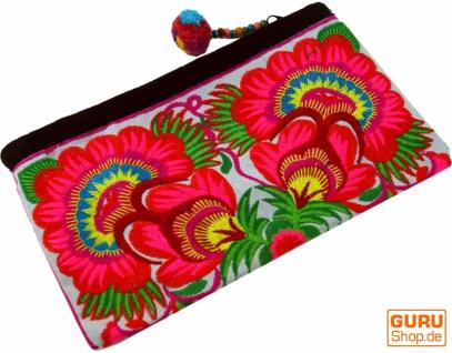 Kosmetiktasche mit Folklore Stickerei - pink/weiß
