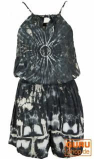 Kurzer luftiger Batik Overall im Hippiestyle - schwarz