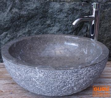 Massives rundes Marmor Aufsatz-Waschbecken, Waschschale, Naturstein Handwaschbecken - Ø 45 cm Modell 14