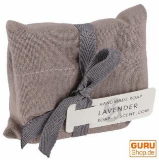 Handgemachte Duftseife im Baumwollsäckchen, 100 g Fair Trade - Lavendel
