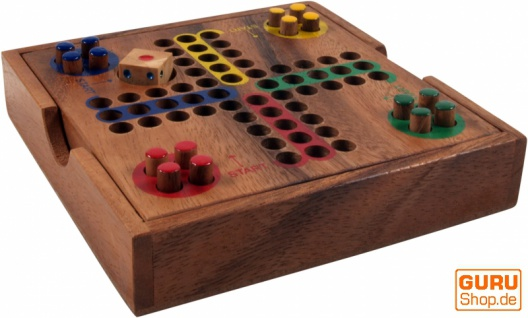 Brettspiel, Gesellschaftsspiel aus Holz - Ludo