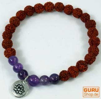 Mala Armband, Handmala mit Anhänger `Blume des Lebens` - Modell 6