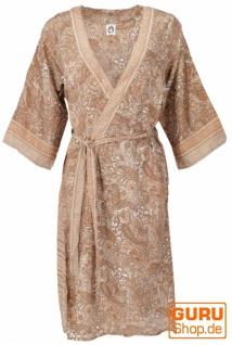 Kimonokleid, seidig glänzender Boho Kimono, 3/4 Kimonomantel - apricot