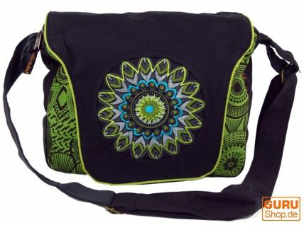 Schultertasche, Hippie Tasche, Goa Tasche - schwarz/grün
