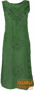 Besticktes Boho Sommerkleid, indisches Hippie Kleid - dunkelgrün Design 4