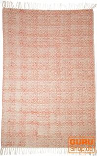 Handgewebter Blockdruck Teppich aus natur Baumwolle mit traditionellem Design - Muster 16