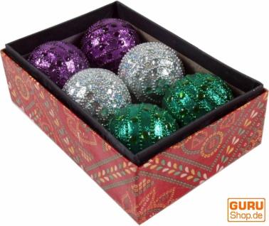 6 große Weihnachtskugeln in 2 Farbvariationen, Glitter Kugeln