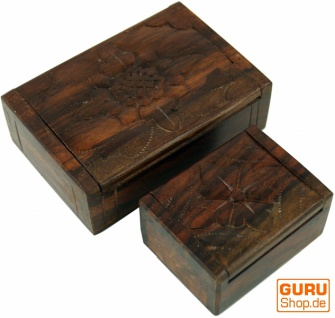 Beschnitzte Holzdose, Schatztruhe, Schmuck Schatulle in 2 Größen - Blume