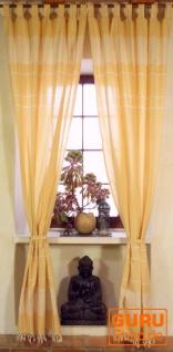Vorhang, Gardine aus grob gewebter weicher Baumwolle (1 Paar Vorhänge, Gardinen) - gelb