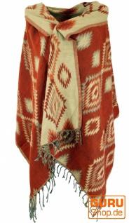 Weicher Pashmina Schal / Stola, Schultertuch - Inka Muster rostorange