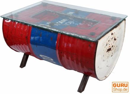 Metall-Couchtisch aus recyceltem Dieselfass mit Glasplatte