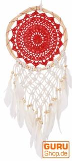 Traumfänger mit gehäkelter Spitze - rot 22 cm