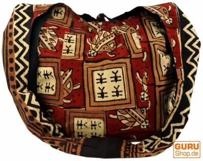 Sadhu Bag, Umhängetasche, Blockdruck Hippie Schultertasche - rot/braun