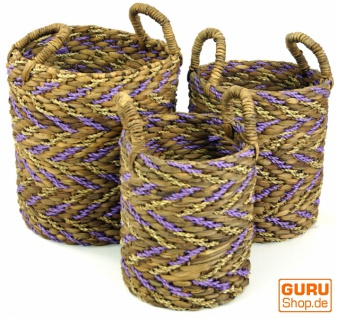 Aufbewahrungskorb aus Wasserhyazinthe in 3 Größen - natur/violet
