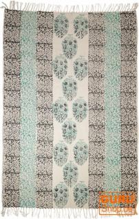 Handgewebter Blockdruck Teppich aus natur Baumwolle mit traditionellem Design - Muster 14