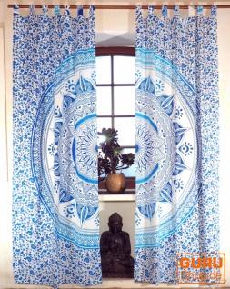 Vorhang, Gardine (1 Paar Vorhänge, Gardinen) mit Schlaufen, Mandala Motiv - weiß/türkis