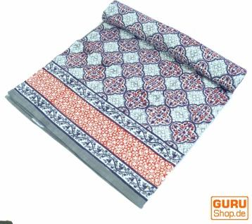 Blockdruck Tagesdecke, Bett & Sofaüberwurf, handgearbeiteter Wandbehang, Wandtuch - blau arabisch