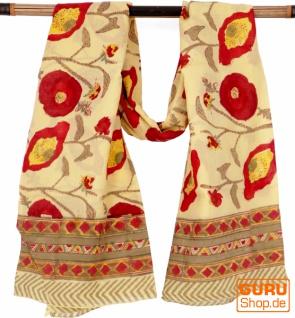 Leichter Pareo, Sarong, handbedrucktes Baumwolltuch - Farb Kombination 34