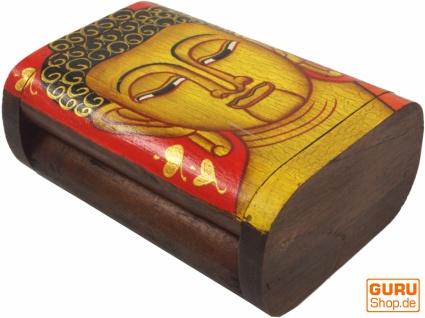 Handbemalte Holzschachtel / Schatulle mit Buddha Motiv - rot