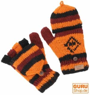 Handgestrickte Handschuhe, Klapphandschuhe Nepal, Wollhandschuhe - orange