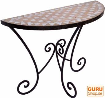 Halbrunder Mosaik Wandtisch mit rustikalem Metallständer - weiß/natur
