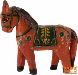 Deko Pferd, im Antik-look bemalt - orange