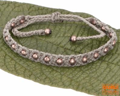 Ethno Perlenarmband, Makrameee Armband - khaki