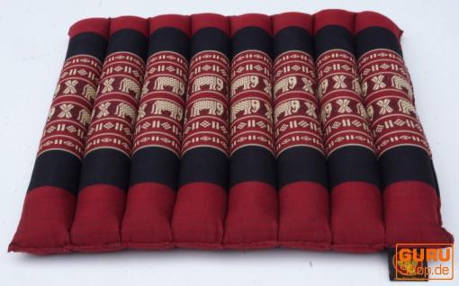Thai Stuhlkissen, Bodenkissen, Sitzunterlage aus Kapok, 35*40 cm - rot/schwarz - Vorschau 2
