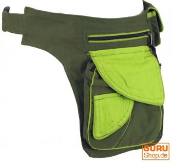 Stoff Sidebag & Gürteltasche, Goa Gürteltasche, Bauchtasche - olive/grün