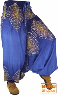 Afghani Hose Haremshose Pluderhose Pumphose Haremshose Aladinhose - blau