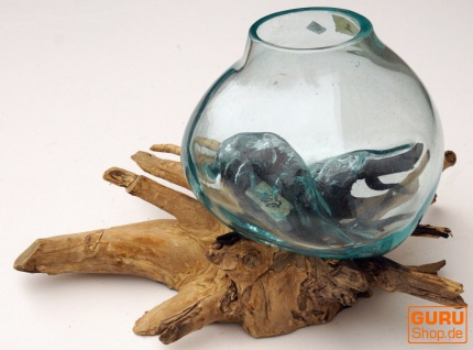 Wurzelholz Vase - 1 * Ø Glas bis 10 cm