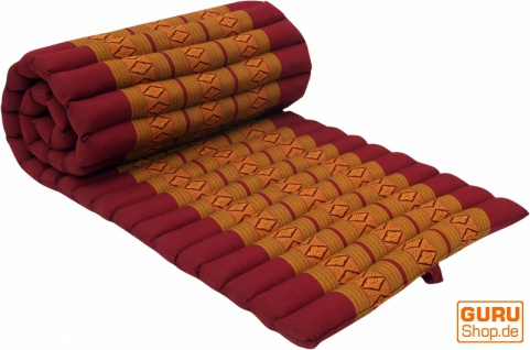Rollbare Thaimatte mit Kapokfüllung rot-gold