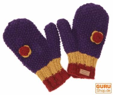 Handschuhe, gestrickte Fausthandschuhe mit Häkelblümchen Nepal - violett