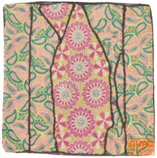 Patchwork Kissenhülle, Dekokissen Bezug aus Rajasthan, Einzelstück - Muster 7