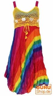 Boho Minikleid, Sommerkleid, Krinkelkleid - regenbogen/gelb