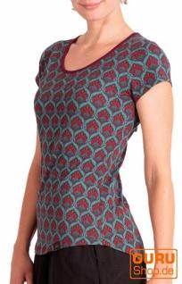 T-Shirt aus Bio-Baumwolle / Chapati Design - petrol retro