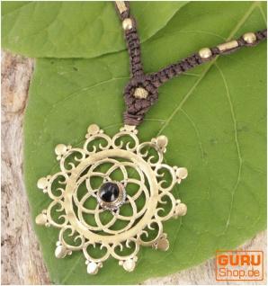 Boho Makramee Kette, Elfenschmuck - Blume des Lebens / Onyx