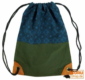 Turnbeutel, Rucksack, Sportbeutel, Hippie Beutel, Freizeitbeutel Blockdruck - blau/grün