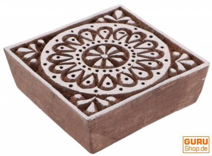 Indischer Textilstempel, Stoffdruckstempel, Blaudruck Stempel, Holz Model - 7*7 cm Blume1