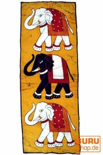 Batikbild Elefant - gelb