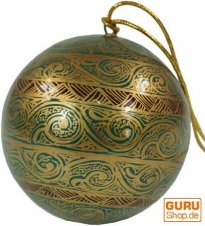 Upcyceling Weihnachtskugel aus Pappmachee, Handbemalter Christbaumschmuck, Kaschmirkugeln - Muster 21