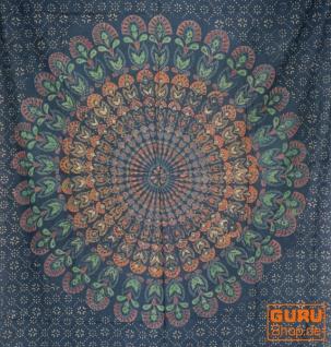 dünnes Tuch, Sarong, Mandala Wandbehang, Wickelrock, Sarongkleid - petrol/grün/orange