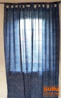 Boho Vorhänge, Gardine (1 Paar ) mit Schlaufen, handbedruckter ethno Style Vorhang - Indigo Druck