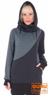 Langärmlige Tunika mit Kapuze aus Bio-Baumwolle / Chapati Design - aqua bubble