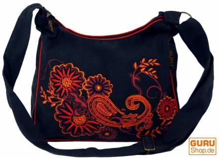 Schultertasche, Hippie Tasche, Goa Tasche - schwarz/rot