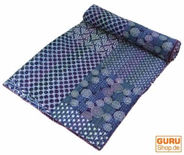 Quilt, Steppdecke, Tagesdecke Bettüberwurf, Besticktes Tuch, Indischer Bettüberwurf, Tagesdecke - Muster 6