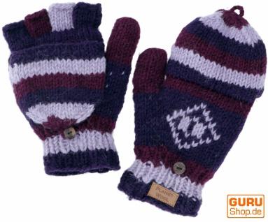 Handgestrickte Handschuhe, Klapphandschuhe Nepal, Wollhandschuhe - violett