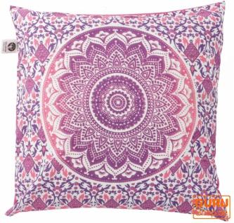 Kissenhülle Sonnen - Mandala, bedruckter Boho Kissenbezug - pink