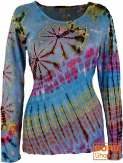 Batik Shirt, Langarmshirt - hellblau